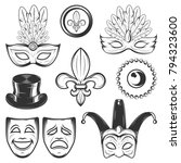 set of vintage mardi gras and... | Shutterstock .eps vector #794323600