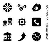 round icons. set of 9 editable...