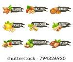 nuts logo set. vector labels... | Shutterstock .eps vector #794326930