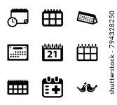date icons. set of 9 editable... | Shutterstock .eps vector #794328250