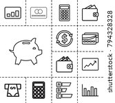 economy icons. set of 13... | Shutterstock .eps vector #794328328