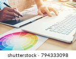 graphic designer drawing on...   Shutterstock . vector #794333098