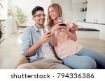 beautiful young couple with... | Shutterstock . vector #794336386