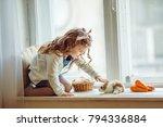 beautiful happy child girl is... | Shutterstock . vector #794336884