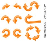 orange arrows. 3d shiny icons... | Shutterstock .eps vector #794337859