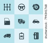 set of 9 automobile filled... | Shutterstock .eps vector #794341768