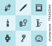 set of 9 pressure filled icons... | Shutterstock .eps vector #794343544