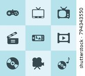 set of 9 video filled icons... | Shutterstock .eps vector #794343550