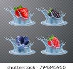 set of realistic berries... | Shutterstock .eps vector #794345950