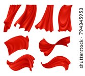 realistic billowing red cloth... | Shutterstock .eps vector #794345953