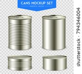 four realistic cylindrical tin... | Shutterstock .eps vector #794346004