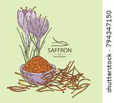saffron  flower and saffron... | Shutterstock .eps vector #794347150
