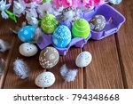 painted easter eggs with... | Shutterstock . vector #794348668