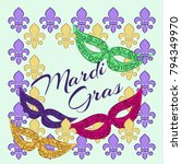 mardi gras background with... | Shutterstock .eps vector #794349970