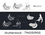 bananas   detailed hand drawn... | Shutterstock .eps vector #794350900
