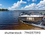 boat launch on lake water | Shutterstock . vector #794357593