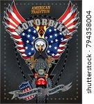 motorbike and skeleton rider... | Shutterstock .eps vector #794358004