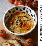 homemade hummus with pumpkin... | Shutterstock . vector #794359954