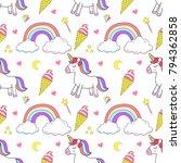 unicorn set magic design element | Shutterstock .eps vector #794362858