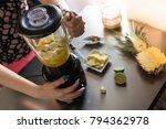 closeup top view image of... | Shutterstock . vector #794362978