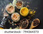 a variety of spicy spices in... | Shutterstock . vector #794364373