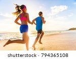 runners fitness couple running... | Shutterstock . vector #794365108