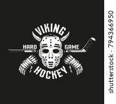 viking hockey logo with a retro ...   Shutterstock .eps vector #794366950