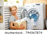 a happy housewife woman in... | Shutterstock . vector #794367874