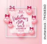 valentines day sale banner.... | Shutterstock .eps vector #794368360