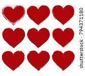 set of vector red hearts in... | Shutterstock .eps vector #794371180