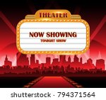 gold brightly theater glowing... | Shutterstock .eps vector #794371564