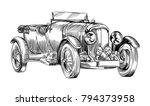 vintage old sport racing car.... | Shutterstock .eps vector #794373958