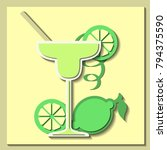 vector card with cocktail... | Shutterstock .eps vector #794375590