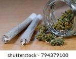 marijuana buds  jar and joints... | Shutterstock . vector #794379100
