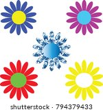 colorful daisies on a white... | Shutterstock . vector #794379433
