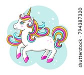 white cute unicorn. vector... | Shutterstock .eps vector #794387320