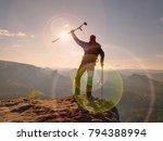 be winner. man tourist after...   Shutterstock . vector #794388994
