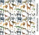 wild animals  giraffe  elephant ... | Shutterstock . vector #794390464