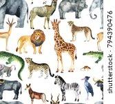 Stock photo wild animals giraffe elephant cheetah antelope in savannah watercolor zoo seamless pattern 794390476