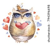 i love you. lovely watercolor... | Shutterstock . vector #794396698