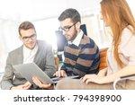 friendly business team working ... | Shutterstock . vector #794398900