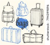 travel hand drawn set with bags ... | Shutterstock .eps vector #794399896
