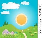 easter scene landscape with... | Shutterstock .eps vector #79440043