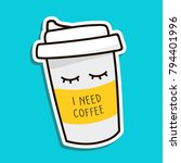 coffee to go paper cup hand... | Shutterstock .eps vector #794401996