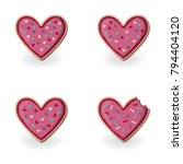 set of heart shape cookies with ... | Shutterstock .eps vector #794404120