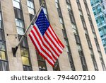 big american flag waving from a ... | Shutterstock . vector #794407210