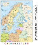 northern europe political map... | Shutterstock .eps vector #794408374