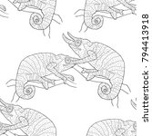 seamless pattern coloring... | Shutterstock .eps vector #794413918