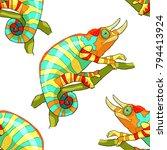 seamless pattern the chameleon... | Shutterstock .eps vector #794413924