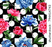 wildflower red and blue peonies ...   Shutterstock . vector #794414743